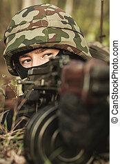 närbild, av, soldat