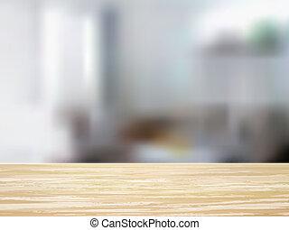 närbild, av, trä skrivbord, och, inre