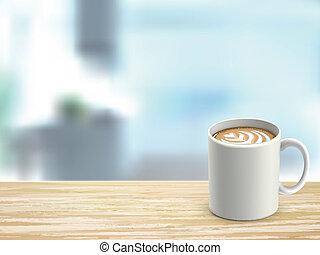 närbild, av, trä skrivbord, och, kaffe, in, rum