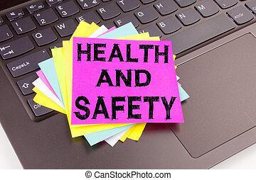 närbild, begrepp, affärskontor, utrymme, text, laptop, skrift, gjord, dator, säkerhet, bakgrund, konstruktion, hälsa, keyboard., fana, medvetenhet, svart