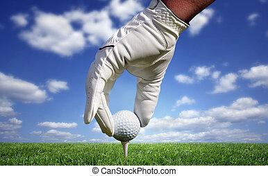 närbild, boll, golf