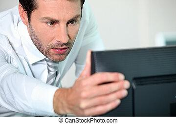 närbild, dator, man