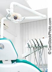 närbild, dental, tandläkare, klinik, professionell, stol, redskapen, medicinsk, synhåll