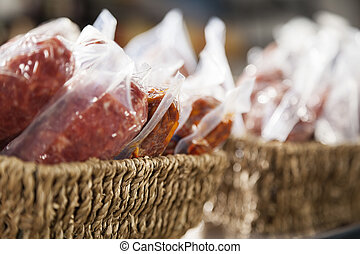 närbild, disk, visat, kött, packat