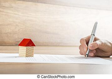 närbild, eller, inteckna, hus, papper, försäljning, undertecknande kontrahera, husägare, färsk