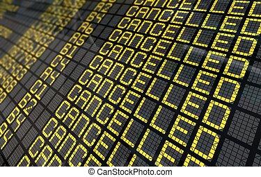 närbild, flights, flygplats, bord, avbrutet, internationell