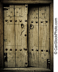 närbild, forntida, avbild, dörrar