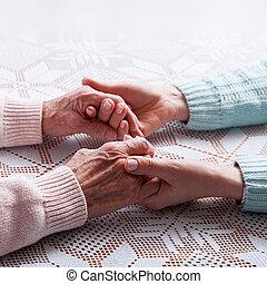 närbild, gårdsbruksenheten räcker, hem, elderly., omsorg