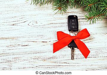 närbild, gåva, stämm, bil, keys., rustik, trä, röd fond, årgång, bog, julklapp, synhåll