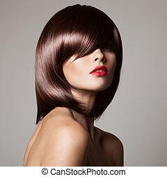 närbild, glatt, skönhet, hair., perfekt, modell, länge, brun, portr