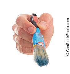 närbild, holdingen, målarpensel, hand