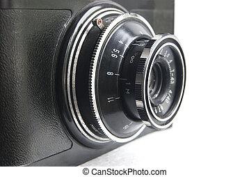 närbild, kamera, gammal