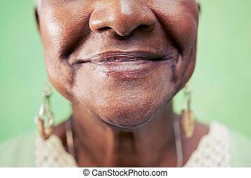 närbild, kvinna, gammal, utrymme, ansikte, bakgrund., grön, ...
