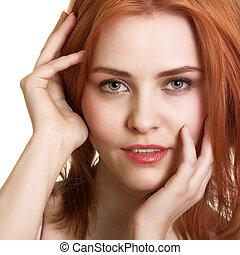närbild, kvinna, ung, stående, caucasian, sensuell