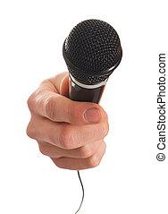 närbild, mikrofon, räcka lämna