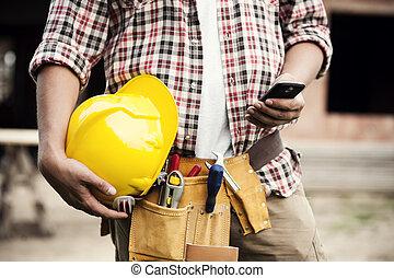 närbild, mobil, texting, arbetare, ringa, konstruktion