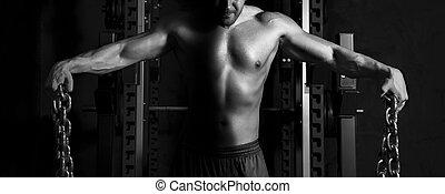 närbild, muskulös, man, torso