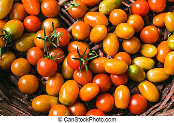 närbild, organisk, tomatoes., topp, frisk, utsikt.