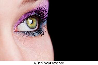 närbild, på, ögon, med, vacker, smink