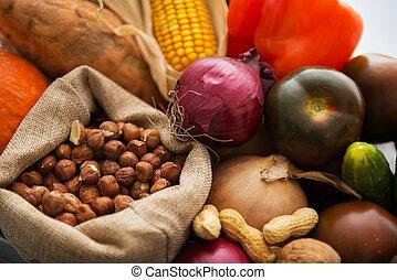 närbild, på, nya vegetables, och, nötter