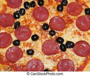 närbild, pizza