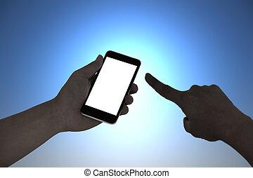 närbild, ringa, smart, gest, mörk, rörande