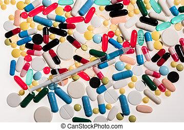 närbild se, av, färgrik, medicinsk, biljard, och, injektionsspruta