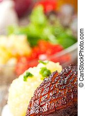 närbild, skål, fläsk, bayersk, stek