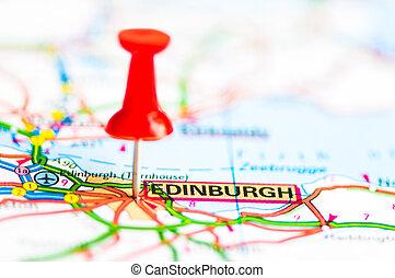 närbild, skott, över, edinburgh, stad, på, karta, skottland