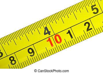 närbild, skott, av, gul, metall, mätning, tejpa