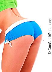 närbild, skott, av, sexig, ung, fitness, kvinna, in, blå kortbyxor