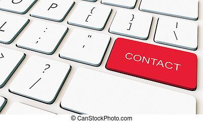 närbild, skott, framförande, kontakta, key., tangentbord, begreppsmässig, vit, dator, röd, 3