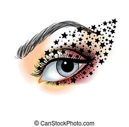 närbild, smink, stjärnor, mode, skapande, färgrik, skönhet, ye, begrepp