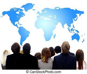 närbild, stående, av, många, folk, och, den, kvinnor, tittande på, karta