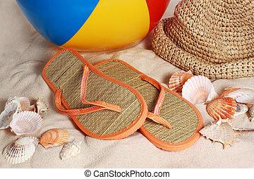 närbild, strand, tillbehör