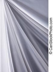 närbild, struktur, tyg, bakgrund, vågor, vit, silke