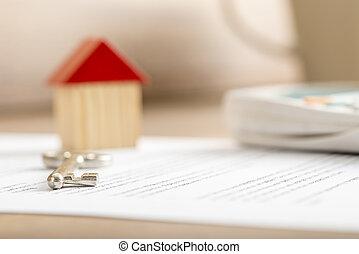 närbild, vara, hus, klar, undertecknat, försäljning, avtal