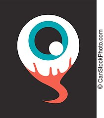 närbild, vektor, ögon, blod, illustration