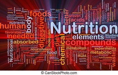 näring, glödande, begrepp, hälsa, bakgrund