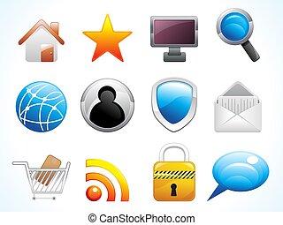 nät, abstrakt, sätta, ikonen