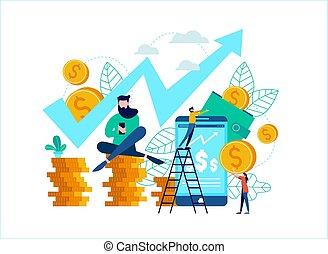 nät, begrepp, finans, affär, app, idé, ringa, eller