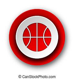 nät, boll, nymodig, bakgrund, vit röd, ikon