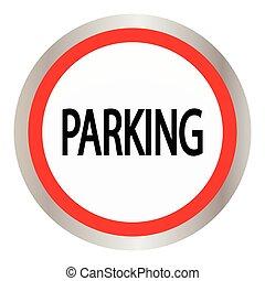 nät, cirkel, parkering, glatt, ikon