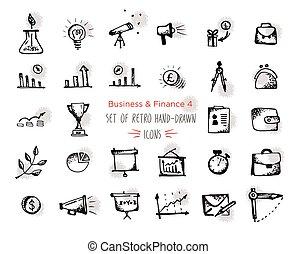 nät, ekonomi, payments., finans, pengar, svart, hand-drawn, bakgrund, fläckar, -, isolerat, betoning, sätta, ikon, form., skiss, runda, vit