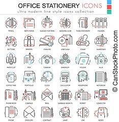 nät, elementara, skissera, ämbete ikon, färg, apps, icons., vektor, skrivpapper, fodra, redskapen, röd, design.