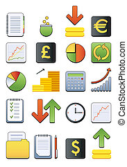 nät, finansiell, ikon