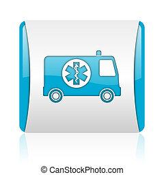 nät, glatt, fyrkant, blå, ambulans, ikon, vit