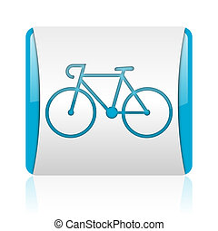 nät, glatt, fyrkant, blå, cykel, ikon, vit