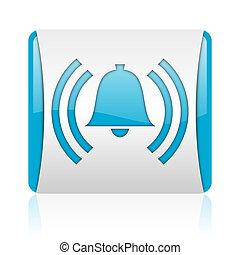 nät, glatt, fyrkant, blå, ikon, alarm, vit