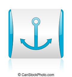 nät, glatt, fyrkant, blå, ikon, ankare, vit